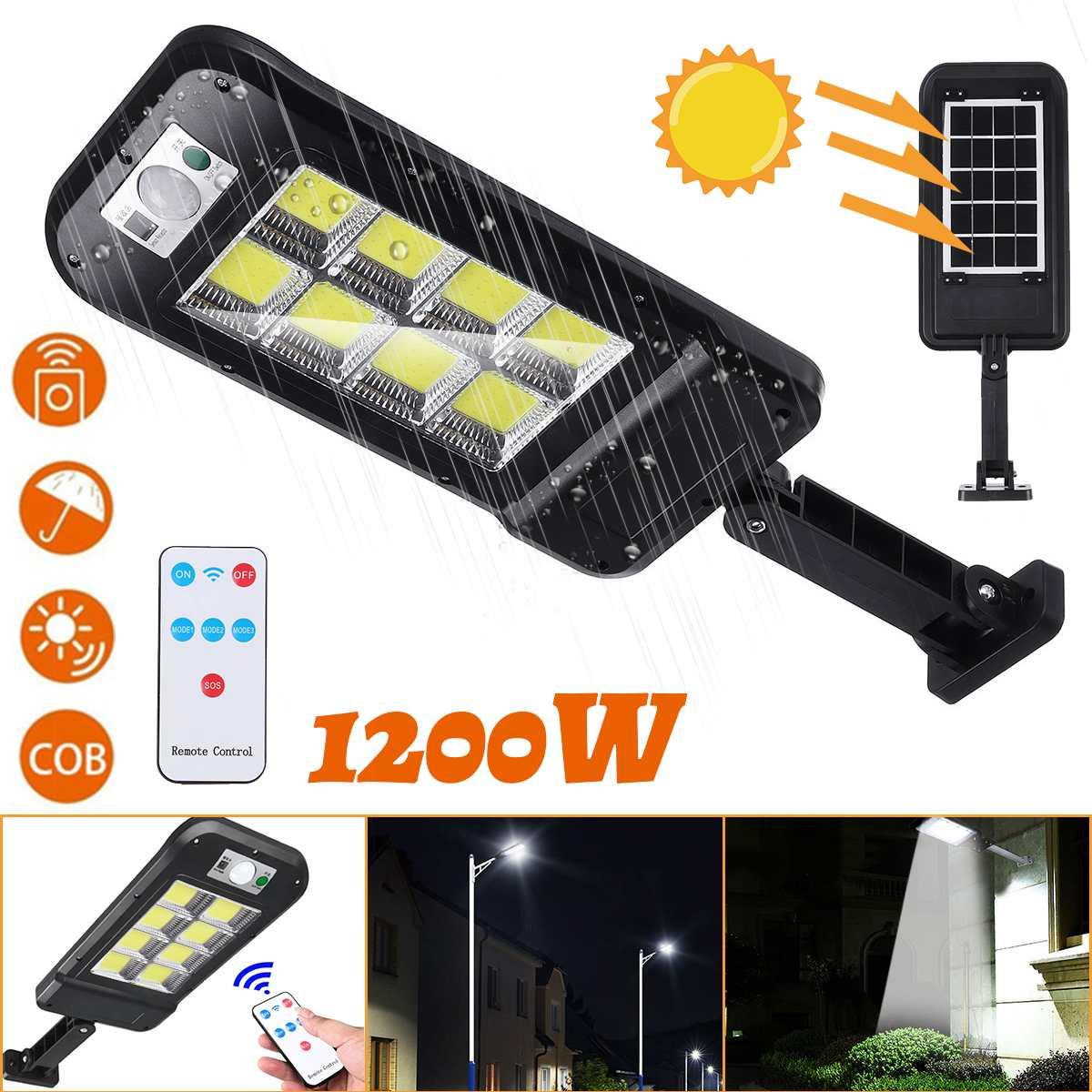1200w pir sensor de movimento controle remoto jardim lâmpada 160cob led à prova d160água luz solar ao ar livre lâmpada rua parede luz