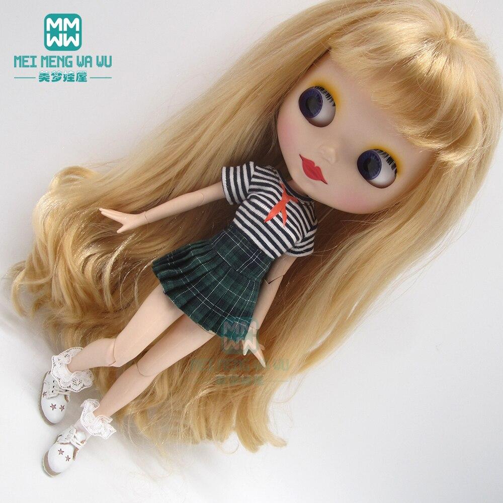 1pcs Blyth Doll Clothes Trendy T-shirts, pleated skirts for Blyth Azone OB23 OB24 1/6 doll accessories недорого