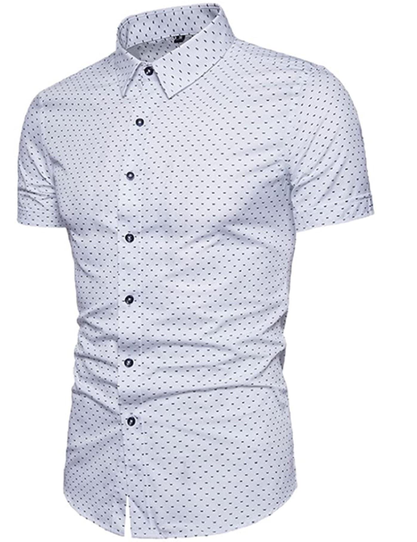 الرجال المطبوعة قميص غير رسمي القطن سليم صالح قصيرة الأكمام الصيف قميص 4 ألوان
