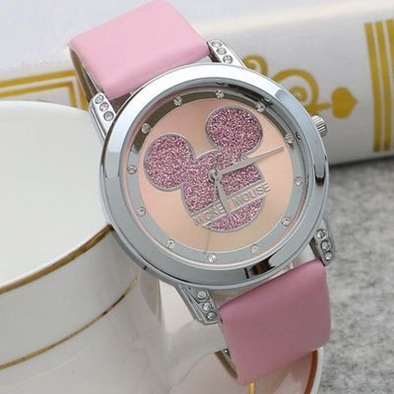 Reloj de cuarzo de Mickey Mouse Minni Steel, relojes de dibujos animados para niños con diamantes de cristal para estudiantes y mujeres, reloj de Anime dorado para chicas