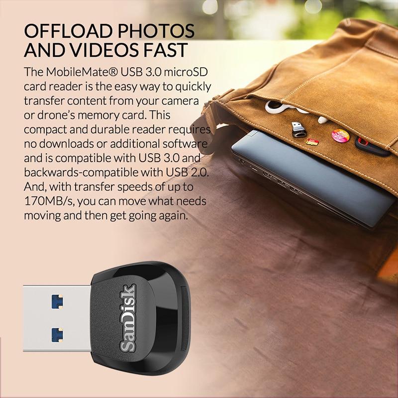 SanDisk Micro SD Card Reader TF Mini MobileMate USB 3.0 Flash Card Reader High Speed microSD UHS I SDHC SDXC microSDHC microSDXC enlarge