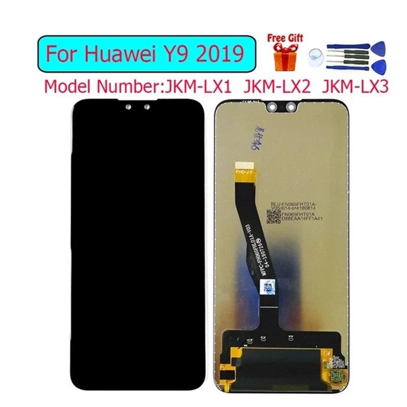 لهواوي Y9 2019 JKM-LX1 JKM-LX2 عرض Lcd استبدال الشاشة لهواوي التمتع 9 زائد محول الأرقام الجمعية لوحة اللمس وحدة