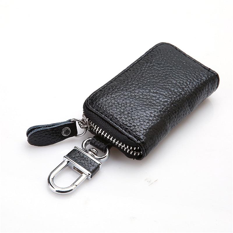 Leather Keychain Men Women Key Holder Organizer Pouch Cow Split Car Key Bag Wallet Housekeeper Key C