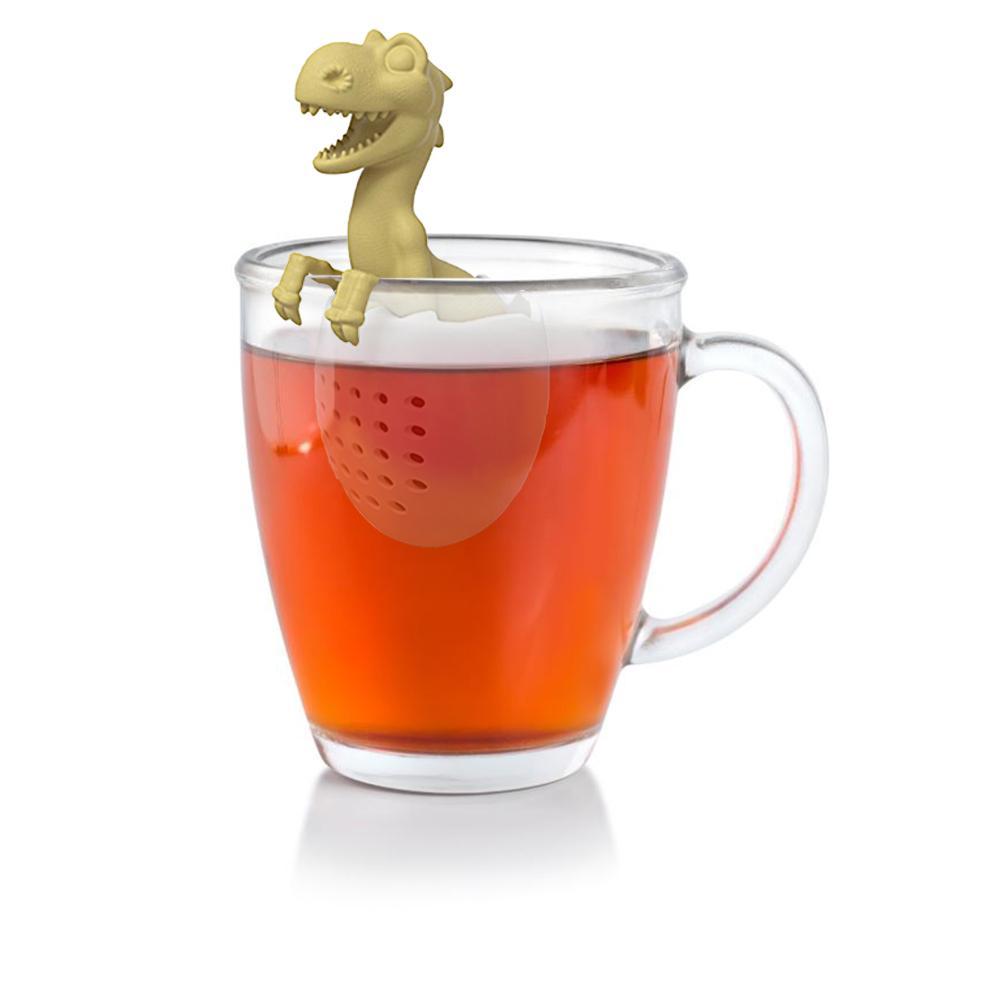 Bolsa de té de silicona hoja Herbal Spice filtro bebé dinosaurio forma té infusor coladores reutilizables filtro Suelto
