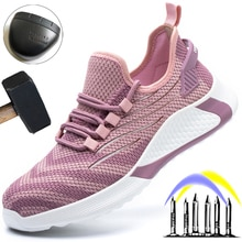 Breathable Work Safety Shoes Women Pink Work Shoes Sneakers Men Puncture-Proof Protective Shoes Unis