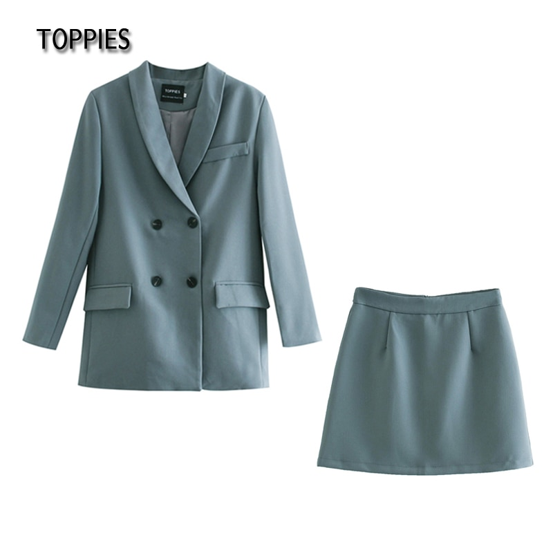 Toppies Womens blazer two piece suit set double breasted jacket blazer 2021 spring ladies formal sui