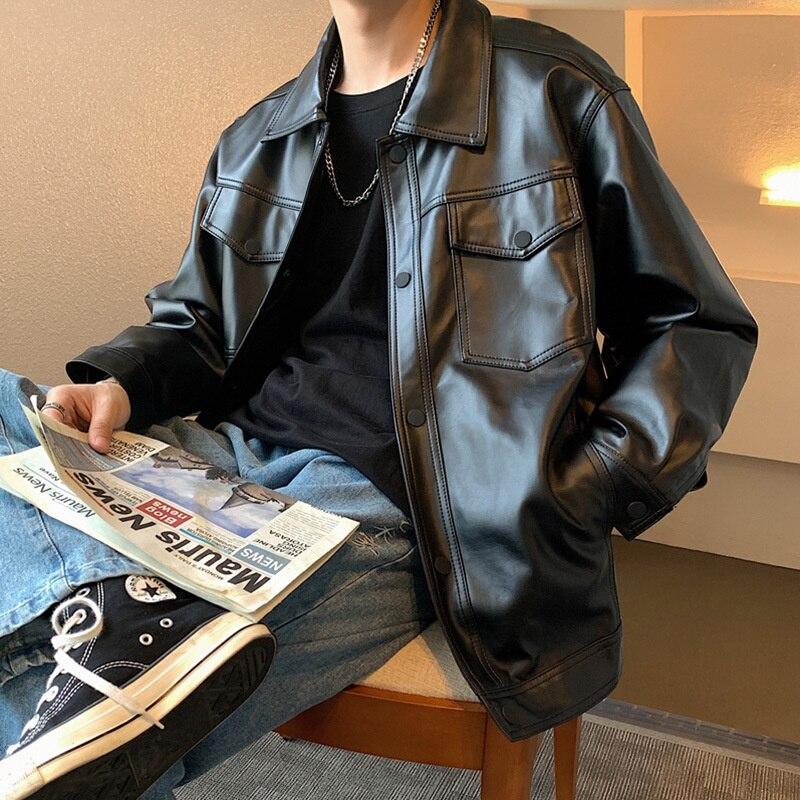 Зимняя локомотивная кожаная мужская рабочая одежда функциональная стильная свободная кожаная куртка трендовая Молодежная Красивая лично...