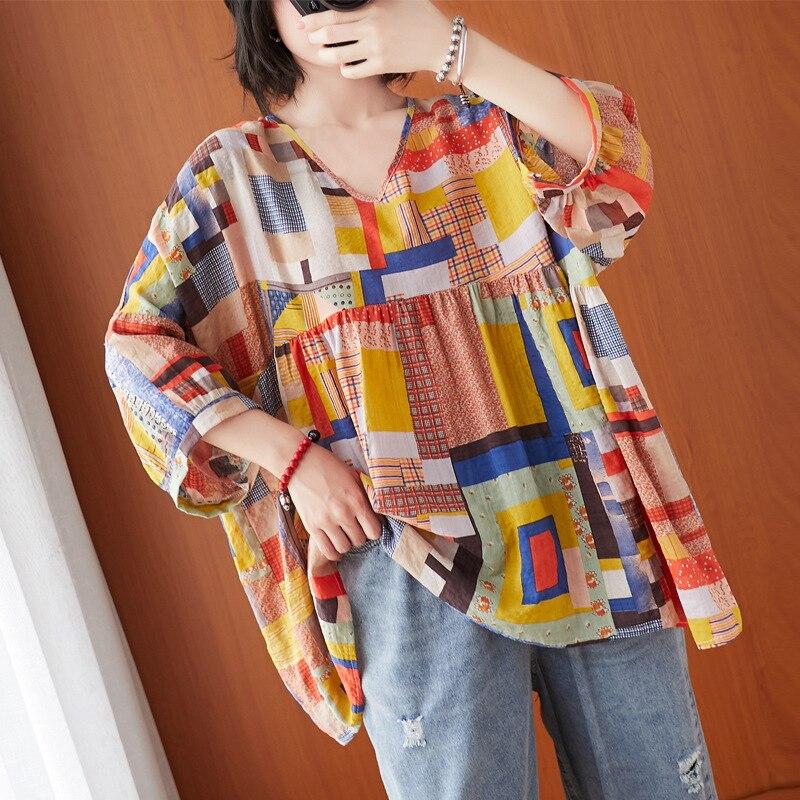 Johnature, Nuevo dibujo de almazuela coreano de talla grande, Tops y blusas para mujer, verano 2020, cuello en V, camisetas de manga de nueve cuartos