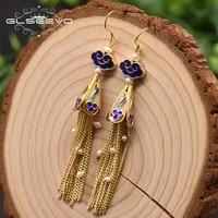 glseevo cloisonne white cloud tassel personality ladies earrings handmade charm temperament drop earrings fine jewellery ge0972