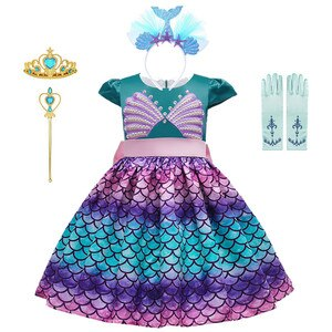 Girl Princess Little Mermaid Ariel Dress Little Mermaid Dress For Girls Kids Fish Scale Gradient Color Pearl Shell Party Dresses