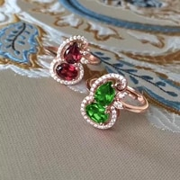 925 new inlaid emerald fulu adjustable ring pomegranate red gour design colorful treasure for women exquisite jewelry wholesale