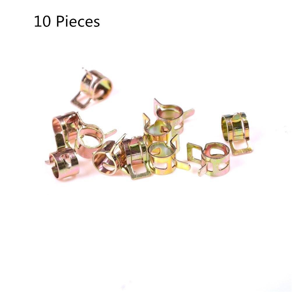 10 unidades/pacote 5/6/7/8/9/10mm tipo faixa de mola mangueira de vácuo combustível tubo de silicone braçadeira clipe aço zinco chapeado braçadeiras