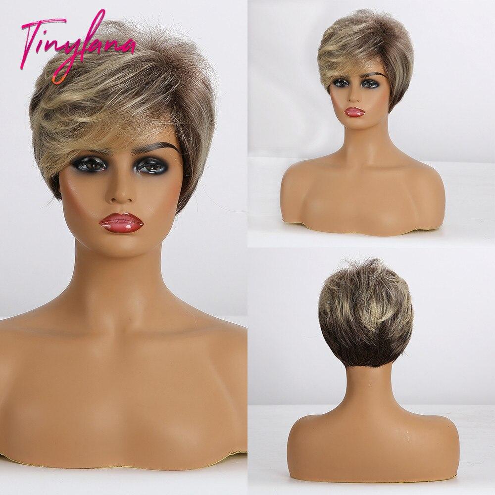 Cabelo curto encaracolado para mulheres brancas loira ombre marrom cores misturadas para uso diário resistente ao calor