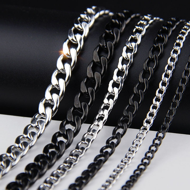 Collares para hombre oulai777 de acero inoxidable, joyería a la moda, collar con cadenas del Orgullo Negro, accesorios de acero para hombre, Hip hop dorado sencillo