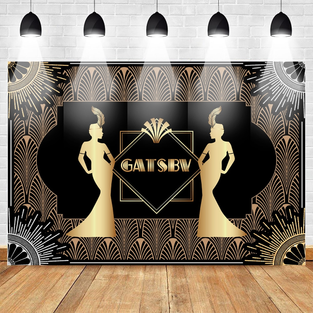 Gran Gatsby Fondo Retro Flapper Girl Fondo 20s fiesta telón de fondo arte decoración adultos cumpleaños fiesta celebración estudio fotográfico