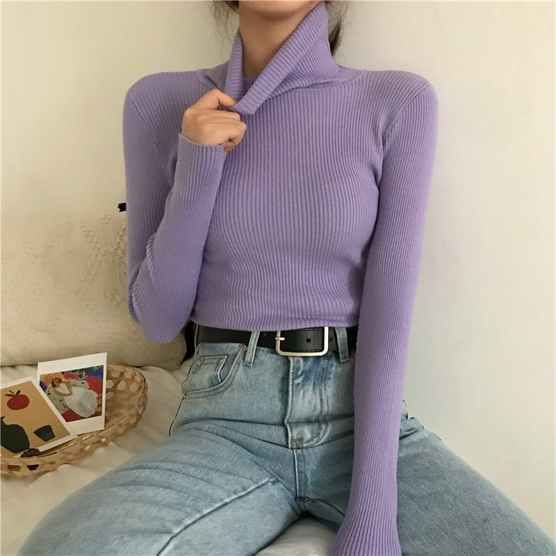Turtleneck Pullovers Sweaters Women 2021 Autumn Winter Primer Shirt Long Sleeve Short Slim-fit tight Jumper Tops Solid