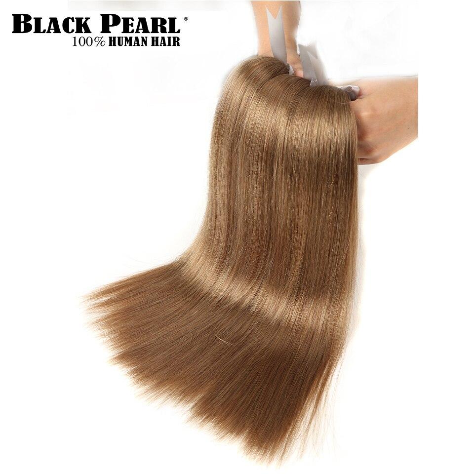 Extensiones de pelo ondulado brasileño de pelo liso sedoso dibujado doble Perla Negra Color 8 #6 # Brown 100% pelo humano Remy 14-24 pulgadas