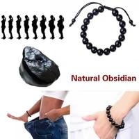 1pcs obsidian fitness beaded bracelet natural stone anti fatigue bracelet fashion women men jewelry gifts diameter 10mm black
