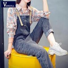 Vangull Fashion Denim Jumpsuit Women Spring New Sleeveless Sling  Length Jeans Causal Loose Hot Susp