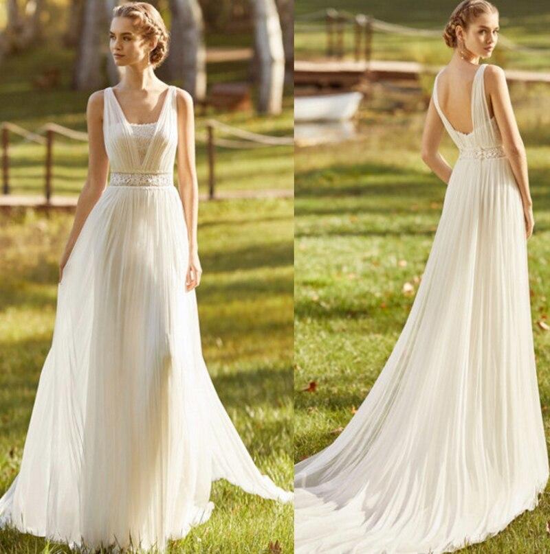 Vestidos de novia con cuello en V sin mangas, de encaje, de...