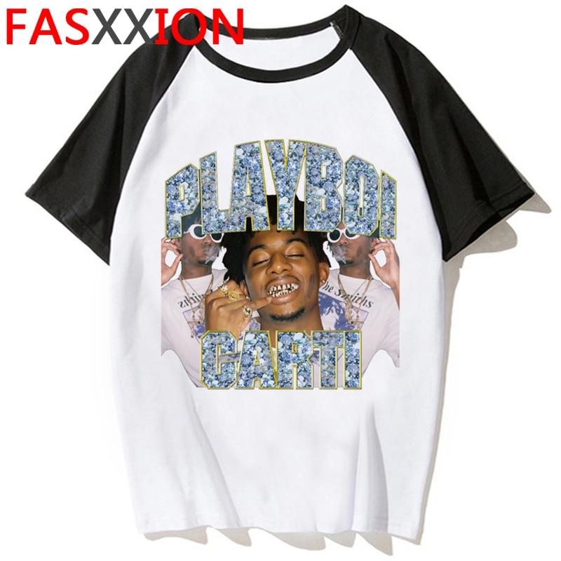 Playboi Carti Harajuku divertida camiseta de dibujos animados hombres Unisex Hip Hop camiseta Anime verano Casual camiseta 90s ropa de calle Top Camisetas Hombre