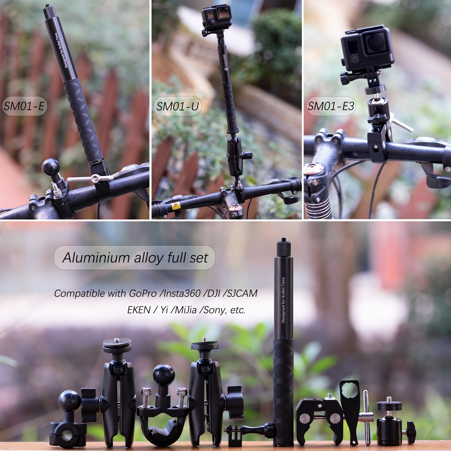 TUYU Motorcycle Bike Invisible Selfie Stick Monopod Handlebar Mount Bracket for GoPro Max 9 Insta360 One R X2 Camera Accessories enlarge