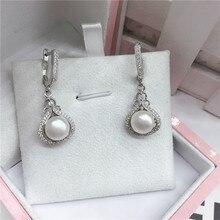 Proste moda kreatywne kolczyki 2020 perła czyste srebro dynda wiszące eleganckie słodkie dla dziewczyn prezent popularne minimalistyczne kolczyki