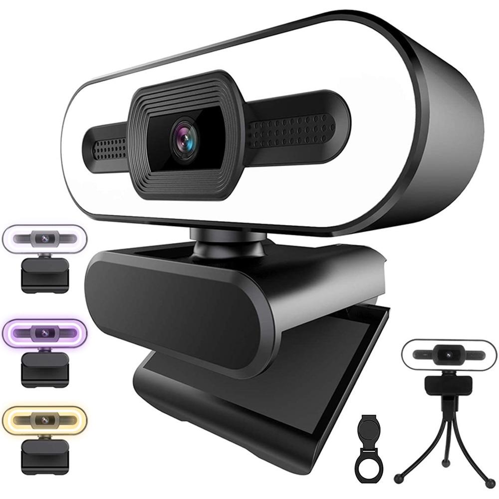 2K كاميرا ويب 1080P مصباح مصمم على شكل حلقة كامل HD كاميرا ويب الكمبيوتر ماك كمبيوتر محمول ترايبود سطح المكتب USB مع ميكروفون كاميرا ويب يوتيوب لاي...