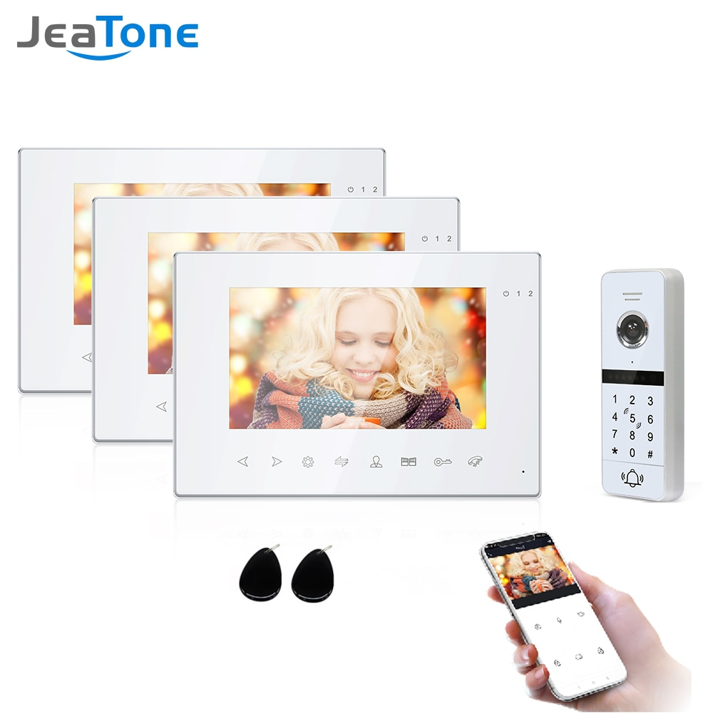 Jeatone Wifi Smart Video Door Phone Intercom System with 3x Night Vision Monitor + 1x960p Password Unlock Doorbell Camera