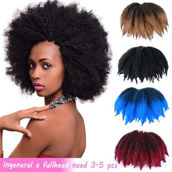QUEEN moderna suave Afro rizado Natural suave Marley trenzado extensión para trenzas 8 pulgadas trenzas de ganchillo sintéticas pelo para mujeres