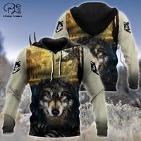 plstar cosmos animal hunting wolf tattoo hunter camo autumn tracksuit harajuku 3dprint menwomen streetwear hoodies pullover n25