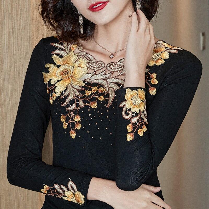 Neue 2021 Frühling Herbst Frau t-shirts Mode Bestickt Langen Ärmeln frauen T-shirt M-4XL Plus Größe Frauen Tops Blusas