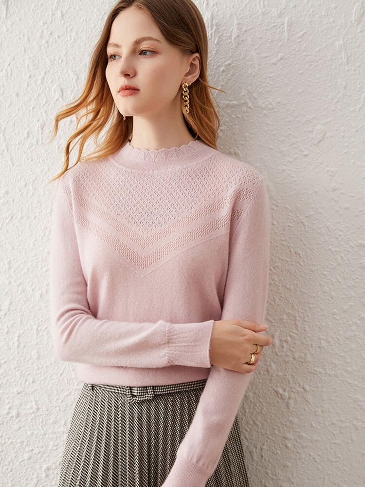 SuyaDream Women Sweaters 65%Cashmere 35%Wool Mock Neck Pullovers 2021 Fall Winter Warm Sweaters for Woman Pink enlarge