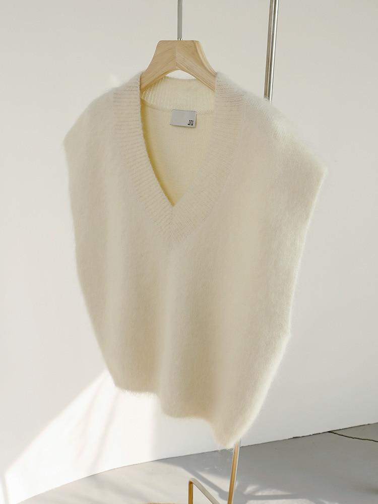 SHUCHAN 35% Mohair SWEATER Vest WOMEN England Style White Winter Keep Warm Sleeveless V-Neck 2021 Loose-fitting enlarge