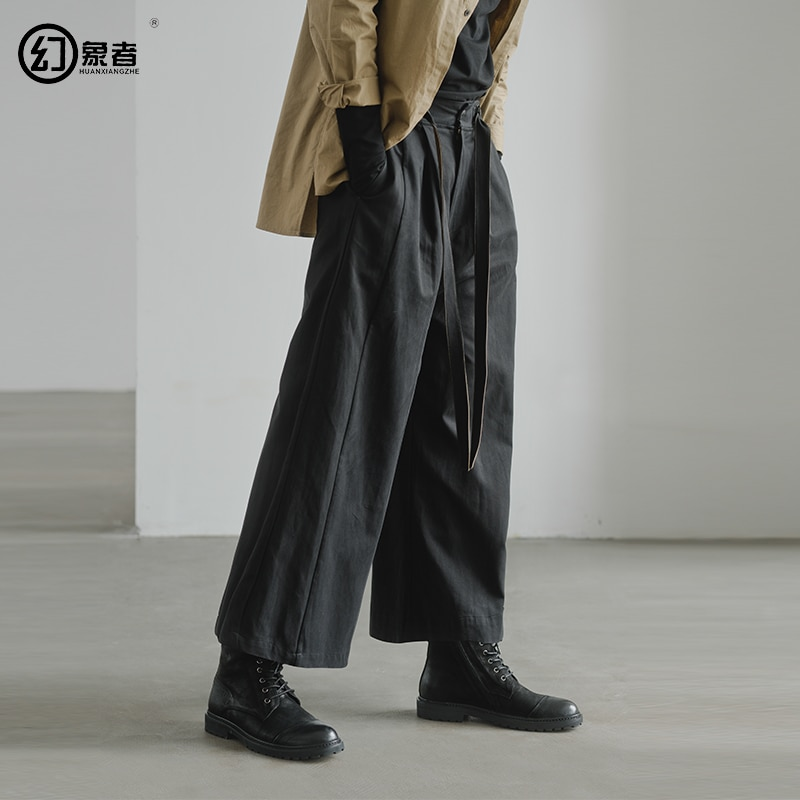[HUANXIANGZHE] 2020 Autumn Men's pants Casual men clothing Wide Leg Pants Loose ankle-length trousers for men брюки