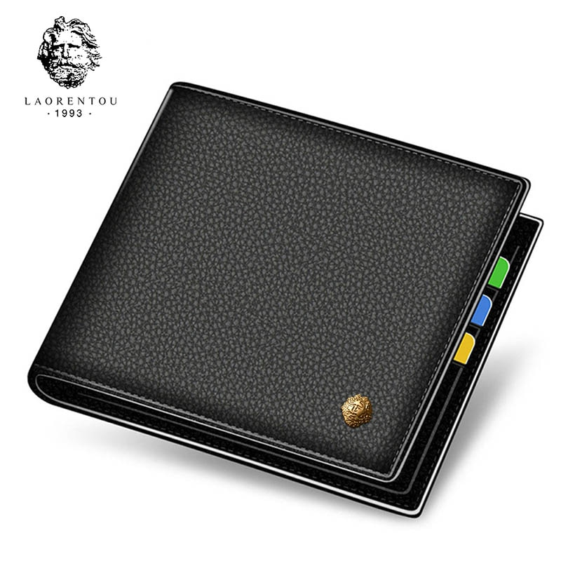 LAORENTOU Men's Wallet 100% Genuine Cow Leather Card Holders Standard Short Wallets Coin Pocket Casual Multi-function Card Purse contact s fashion genuine leather women wallet small standard wallets coin bag brand design lady purse card holders red brown