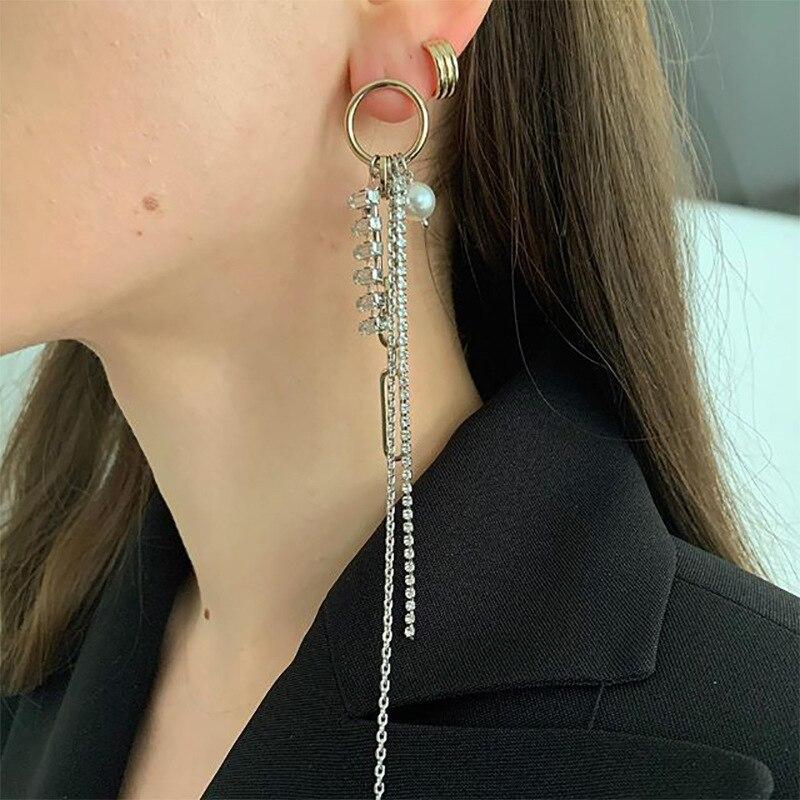 Европейские и американские ювелирные изделия из золотистого и серебристого цвета, сочетающиеся металлические серьги hain, одноцветные длинн...