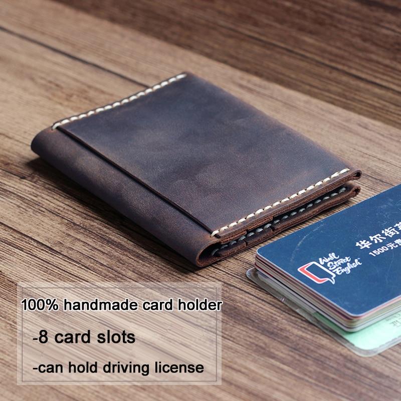 100% Handmade Vintage Genuine leather card holder men wallet women bag credit business case