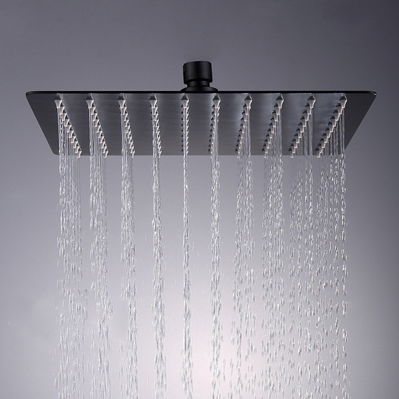 Cabezal de ducha de 16 pulgadas de lujo ultrafino 12 pulgadas ducha de lluvia 304 Acero inoxidable accesorio para grifo del baño negro