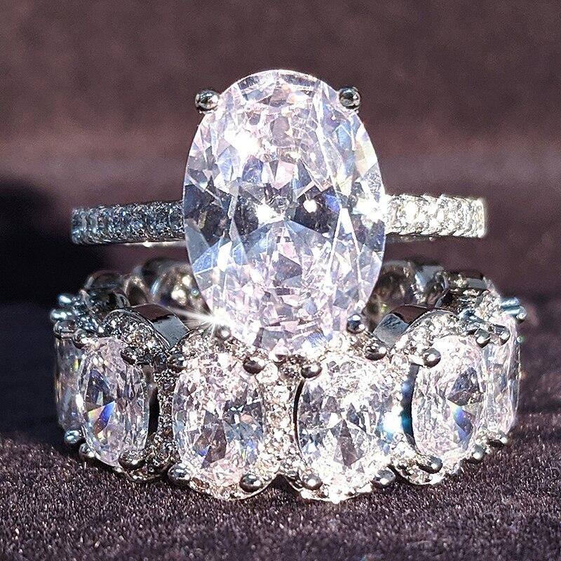 Juego de anillos de boda ovalados de Plata de Ley 925 auténtica para mujer, anillo de compromiso de lujo, joyería de eternidad, triangulación de envíos, clásico, grande, R4947