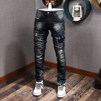 newly designer fashion men jeans high quality retro dark blue ripped denim pants streetwear elastic slim fit hip hop trousers