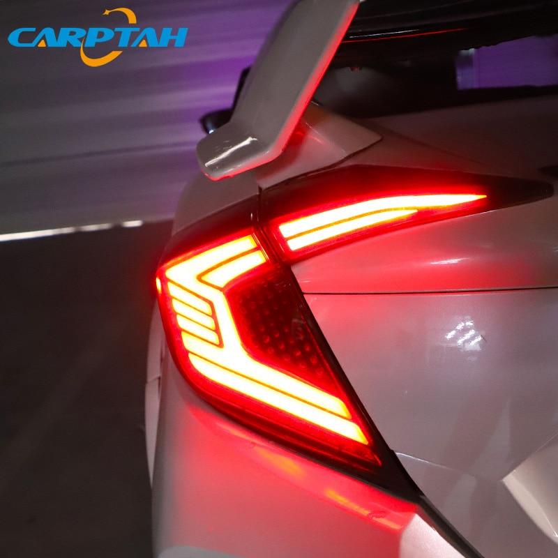 سيارة التصميم أضواء خلفية الضوء الخلفي لهوندا سيفيك سيدان 2015 - 2020 لمبة خلفية DRL ديناميكية بدوره إشارة عكس الفرامل LED