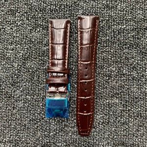 Watch Accessories Watch Strap 22mm Brown Leather Strap Butterfly Buckle