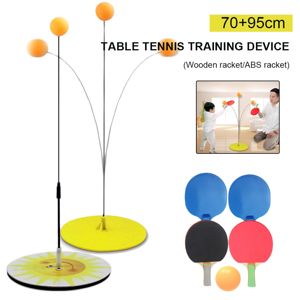 portable table tennis trainer table tennis soft shaft training machine elasticity kid adult ping pong practice trainer Table Tennis Trainer Rebound Ping Pong Trainer Flexible Soft Shaft Ping Pong Balls Paddles Set for Kids Adults Convenient