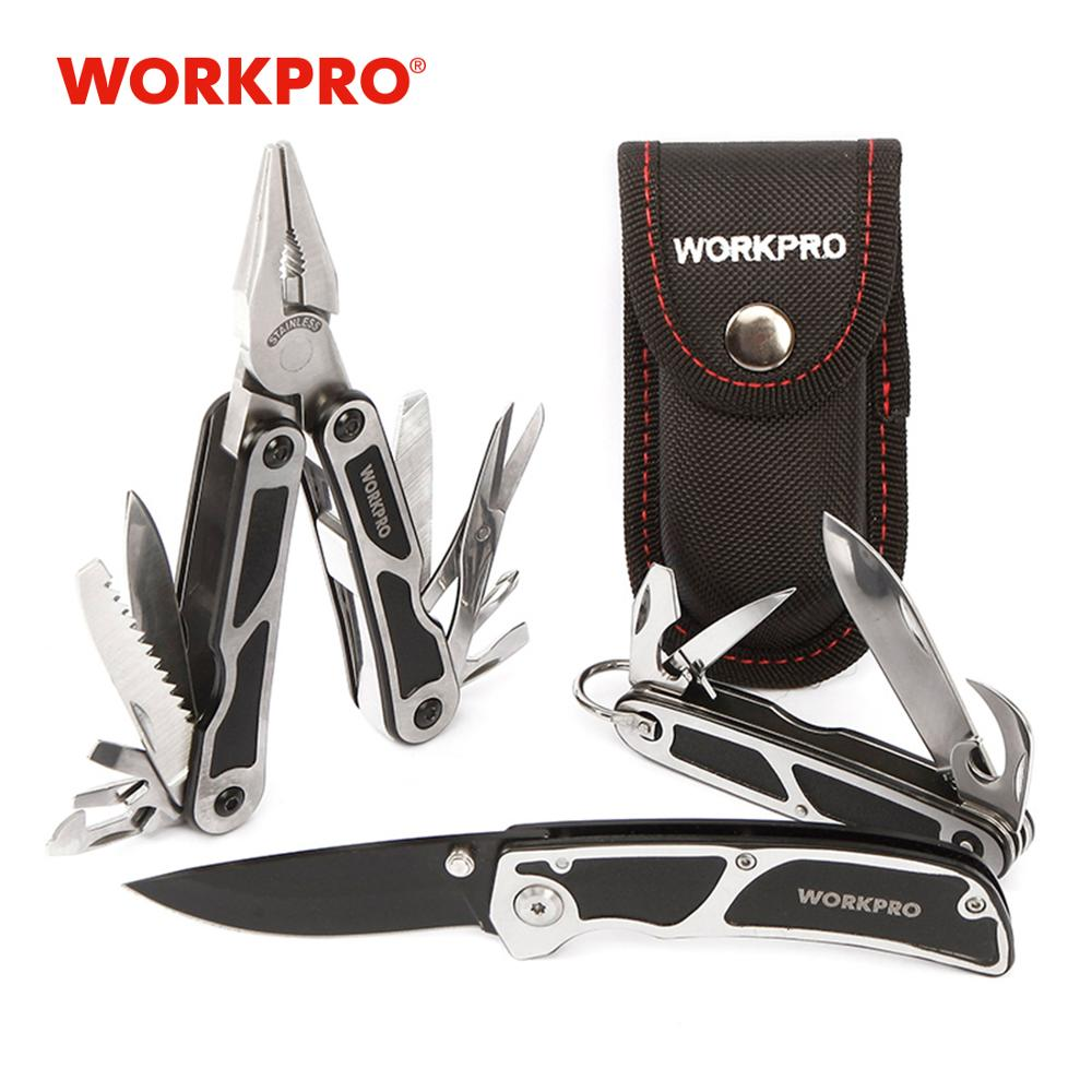 Набор инструментов для кемпинга WORKPRO 3 шт., многофункциональные плоскогубцы, тактический нож, набор инструментов для выживания