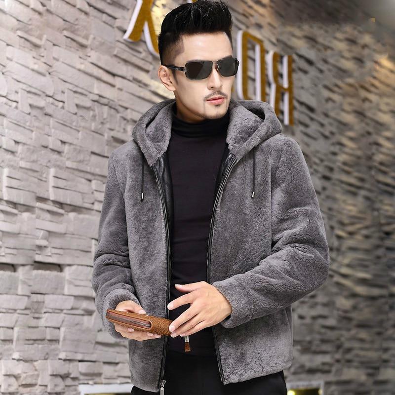 Jacket Hooded Men's Men Clothing Real Sheep Shearing Fur Clothes Winter Coat Mens Thick Jackets Male