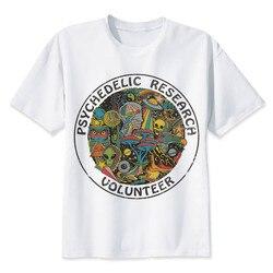 2020 camiseta de pesquisa psicodélica voluntário masculina magro funky colorido impressão t camisa masculina vintage camiseta engraçado
