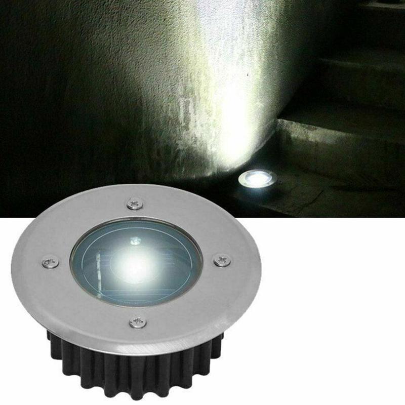 Luces LED de cubierta con energía Solar, de acero inoxidable, para exteriores, jardín, impermeables, luces para suelo y suelo, lámpara para suelo, 1 unidad