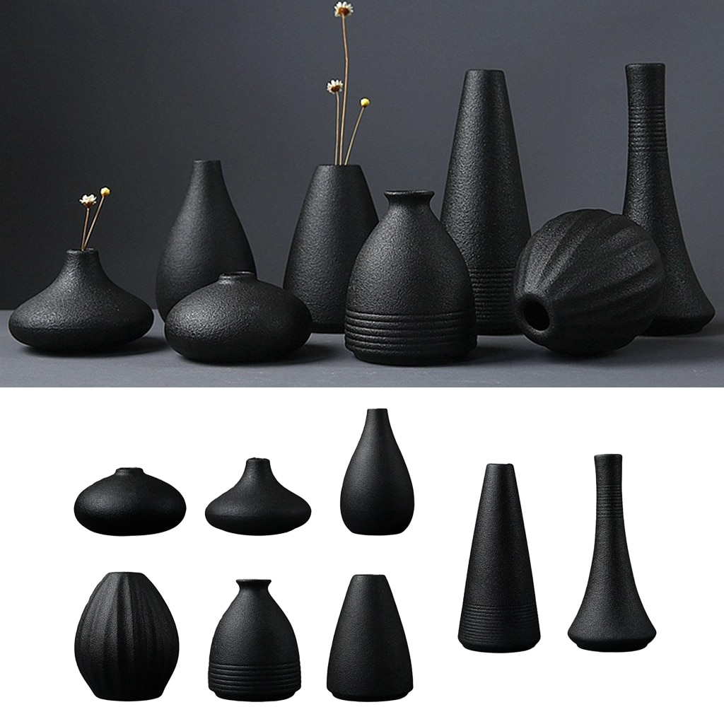 Modern Black Ceramic Flower Vase Home Kitchen Living Room Flower Arrangement  - buy with discount
