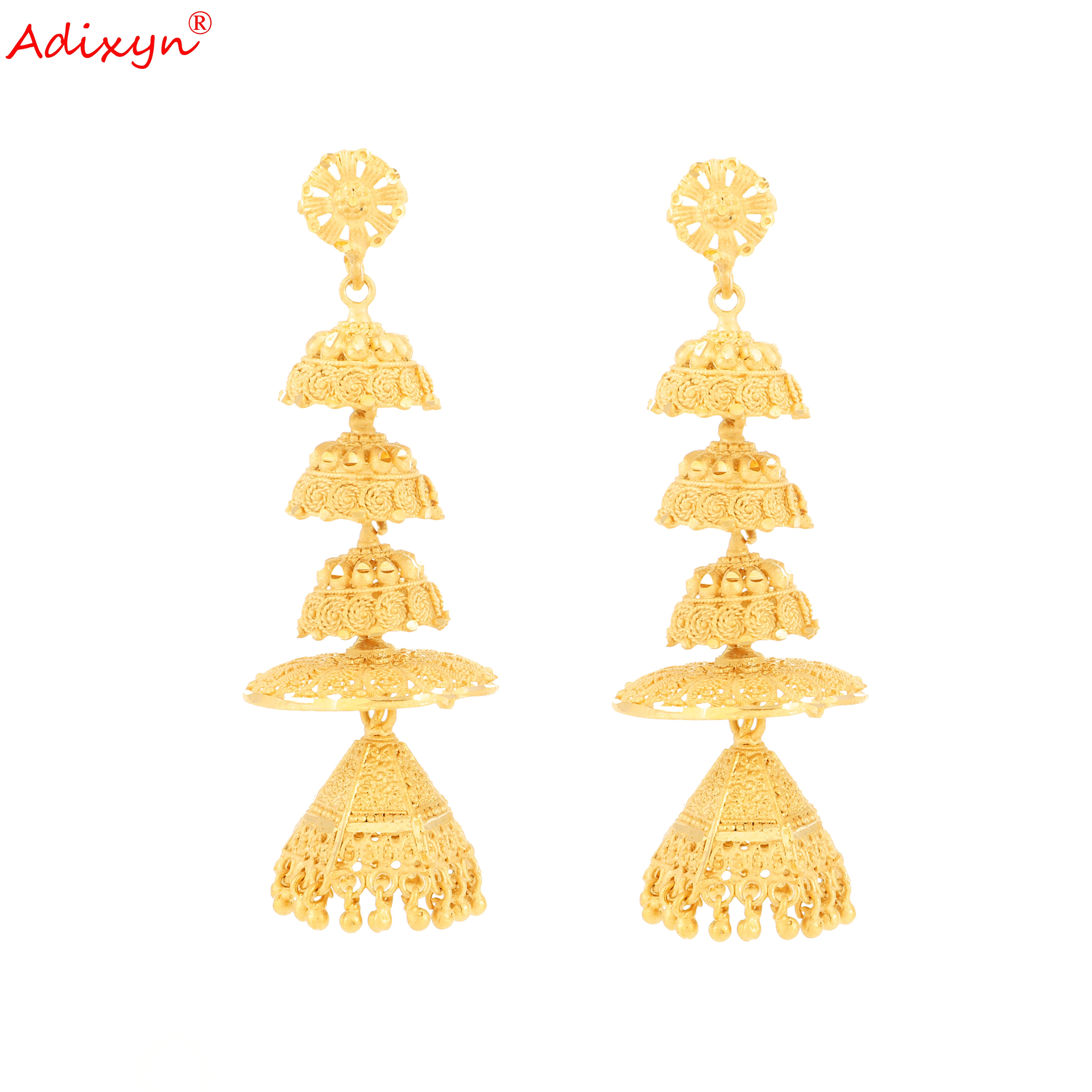 Adixyn-أقراط على شكل قبعة ، مجوهرات ذهبية اللون ، مجوهرات نحاسية أفريقية/إثيوبية/دبي للنساء/الفتيات ، هدايا